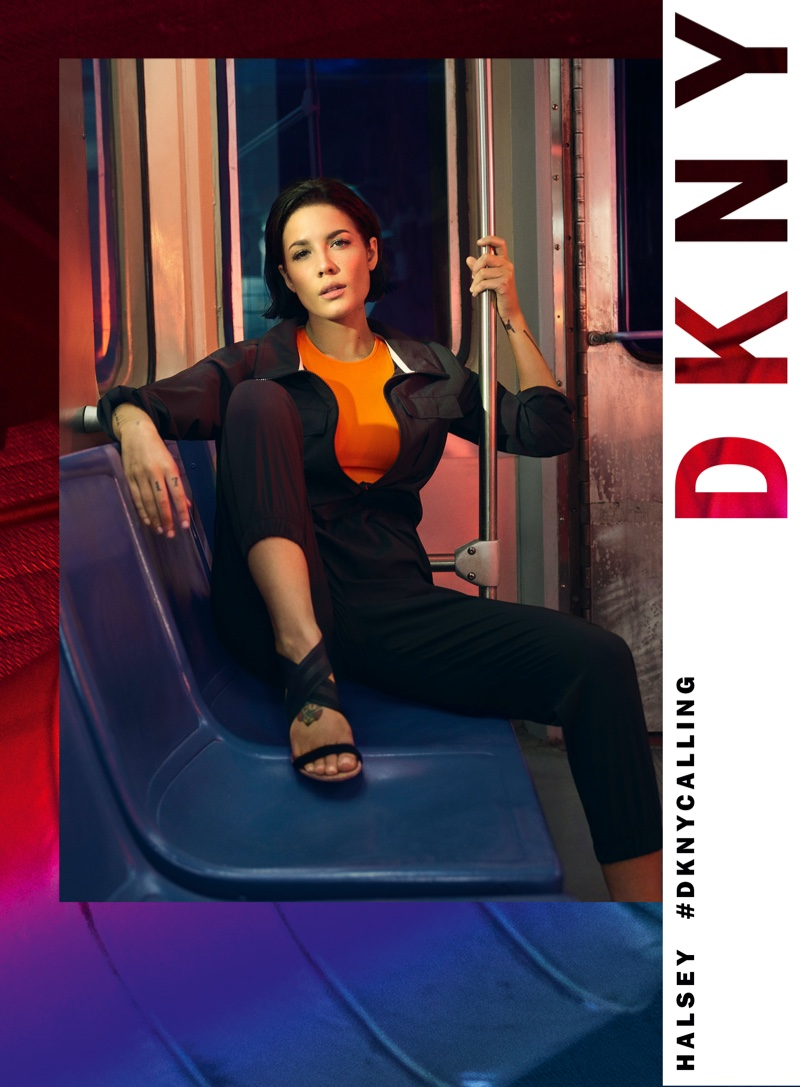 Posing on a subway, Halsey appears in DKNY spring-summer 2020 campaign