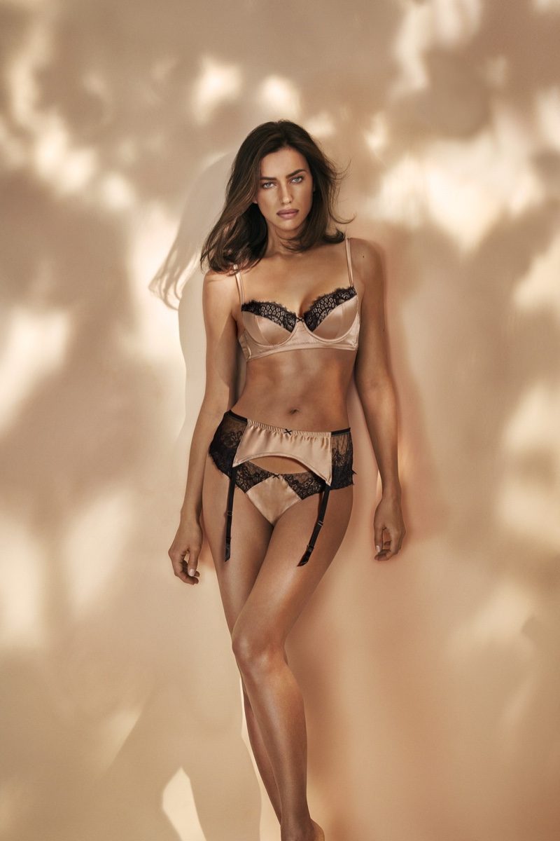 Supermodel Irina Shayk poses in Intimissimi Green Collection lingerie campaign