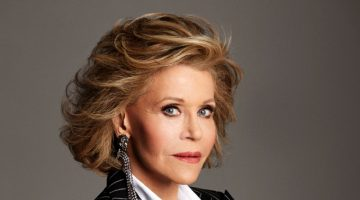 Actress Jane Fonda wears Alexandre Vauthier Haute Couture blazer, Chanel shirt and Gucci earrings