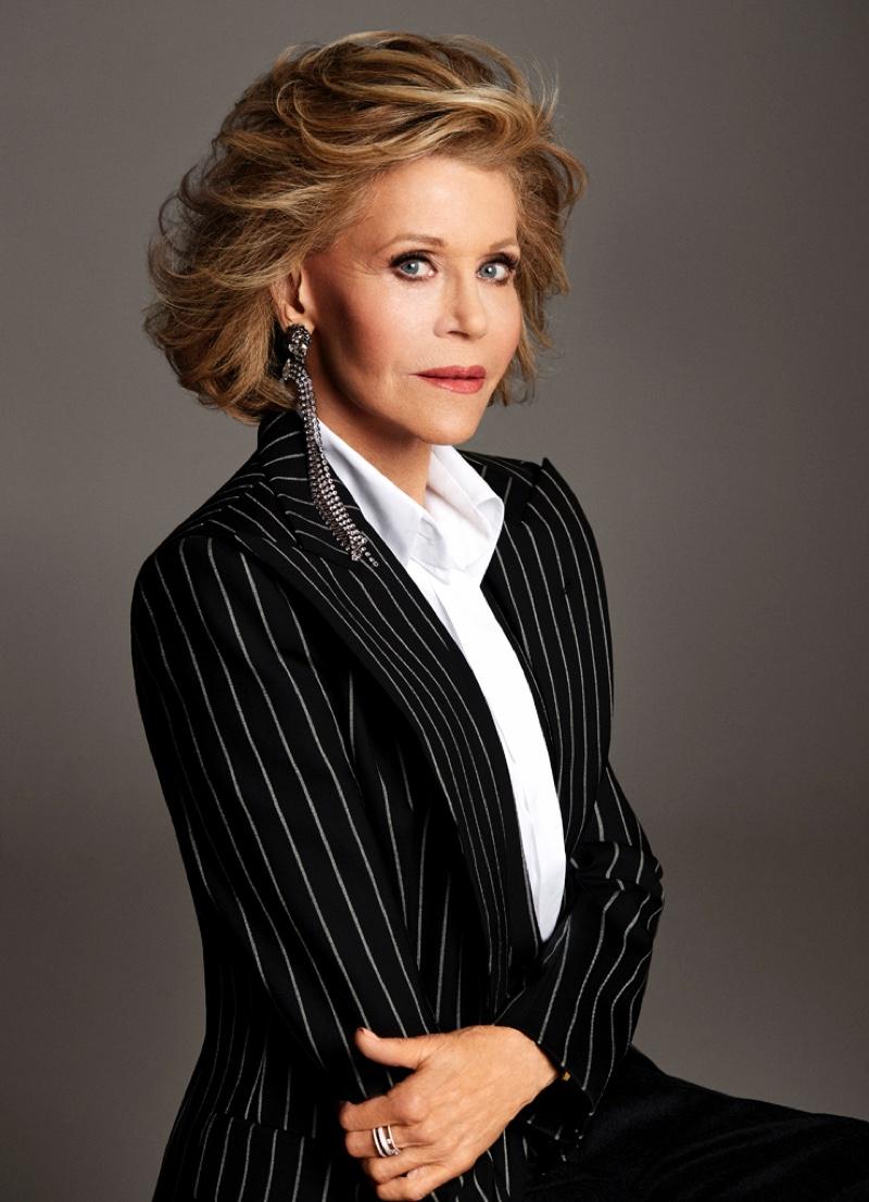 Actress Jane Fonda wears Alexandre Vauthier Haute Couture blazer, Chanel shirt and Gucci earrings