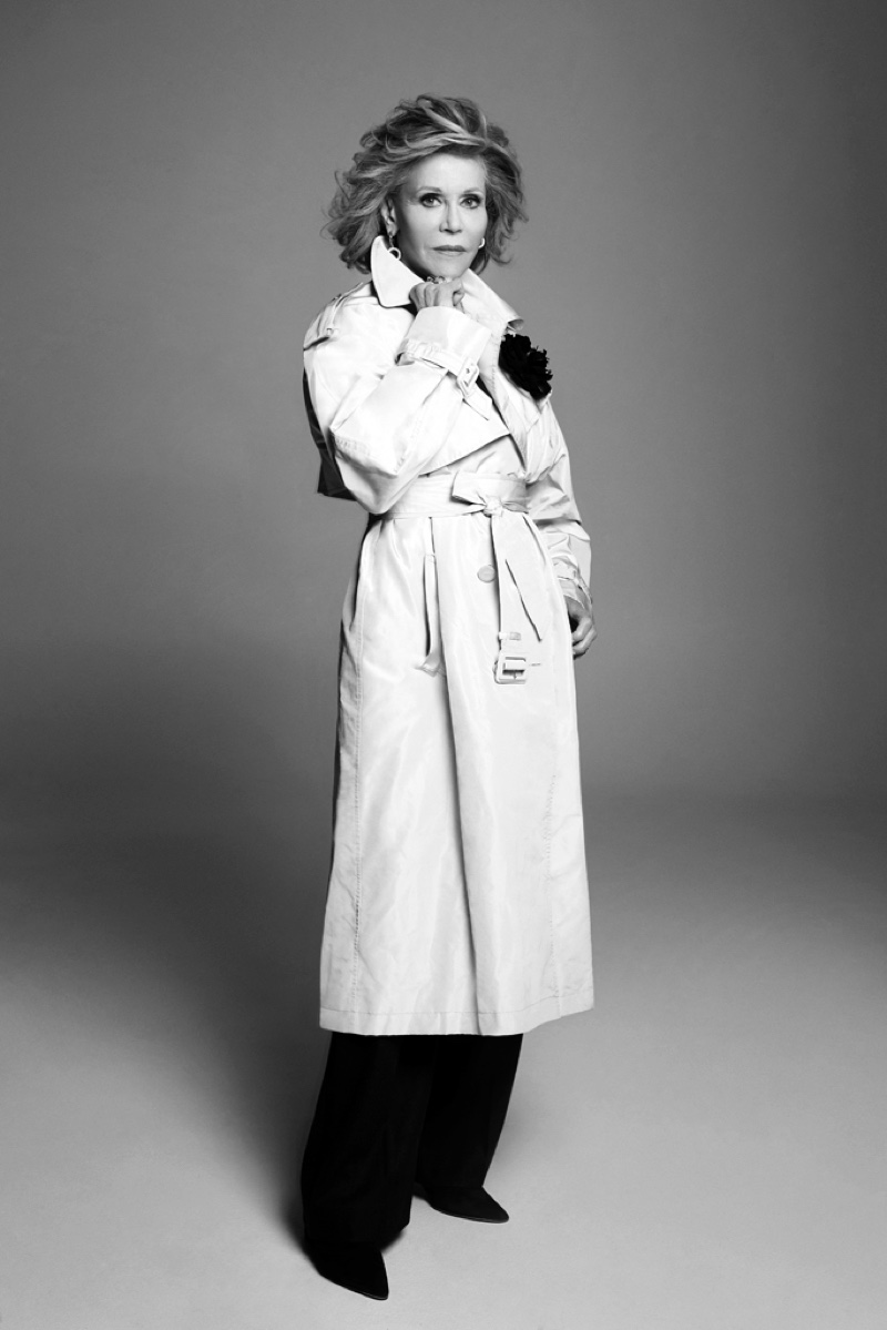 Jane Fonda poses in Alexandre Vauthier Haute Couture trench coat and brooch