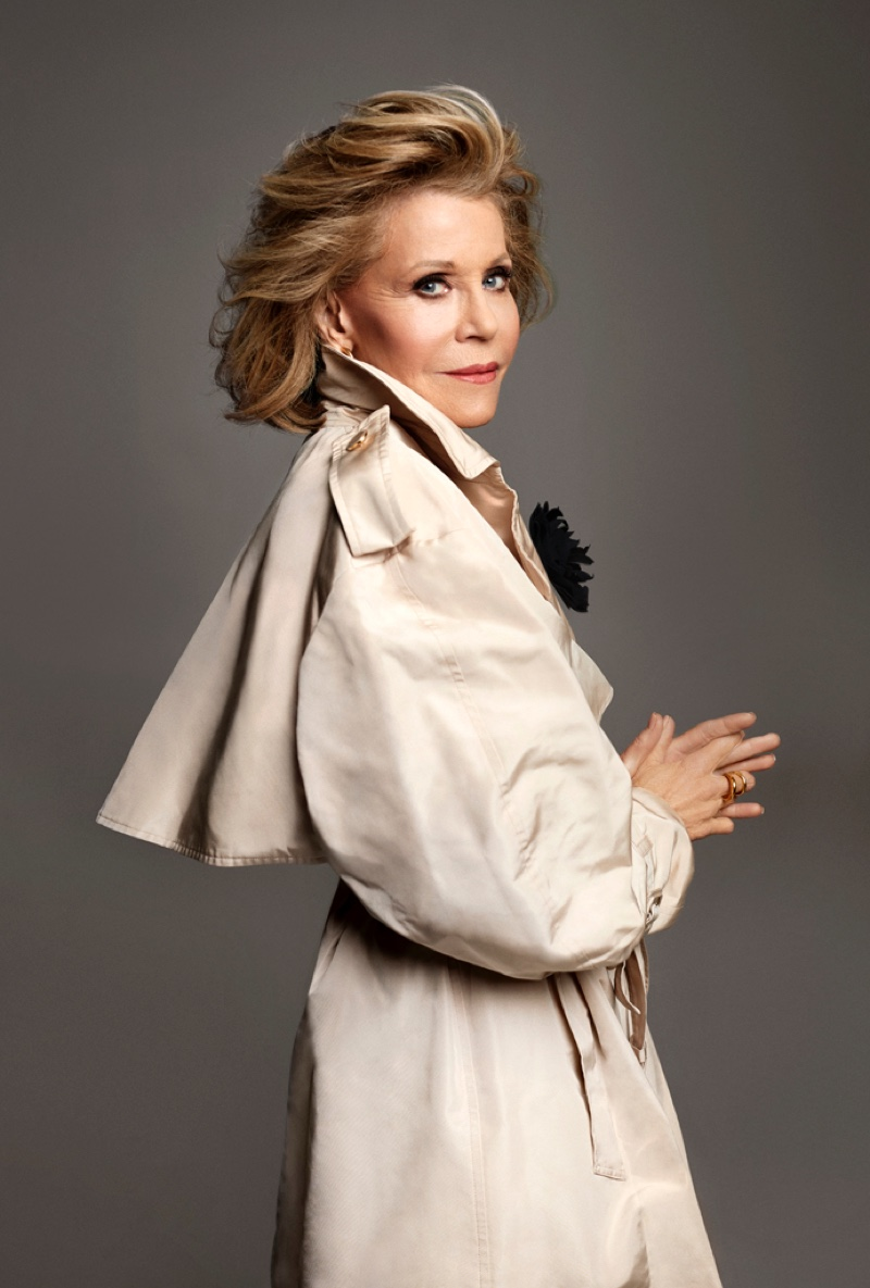 Wearing an elegant look, Jane Fonda poses for Max Abadian