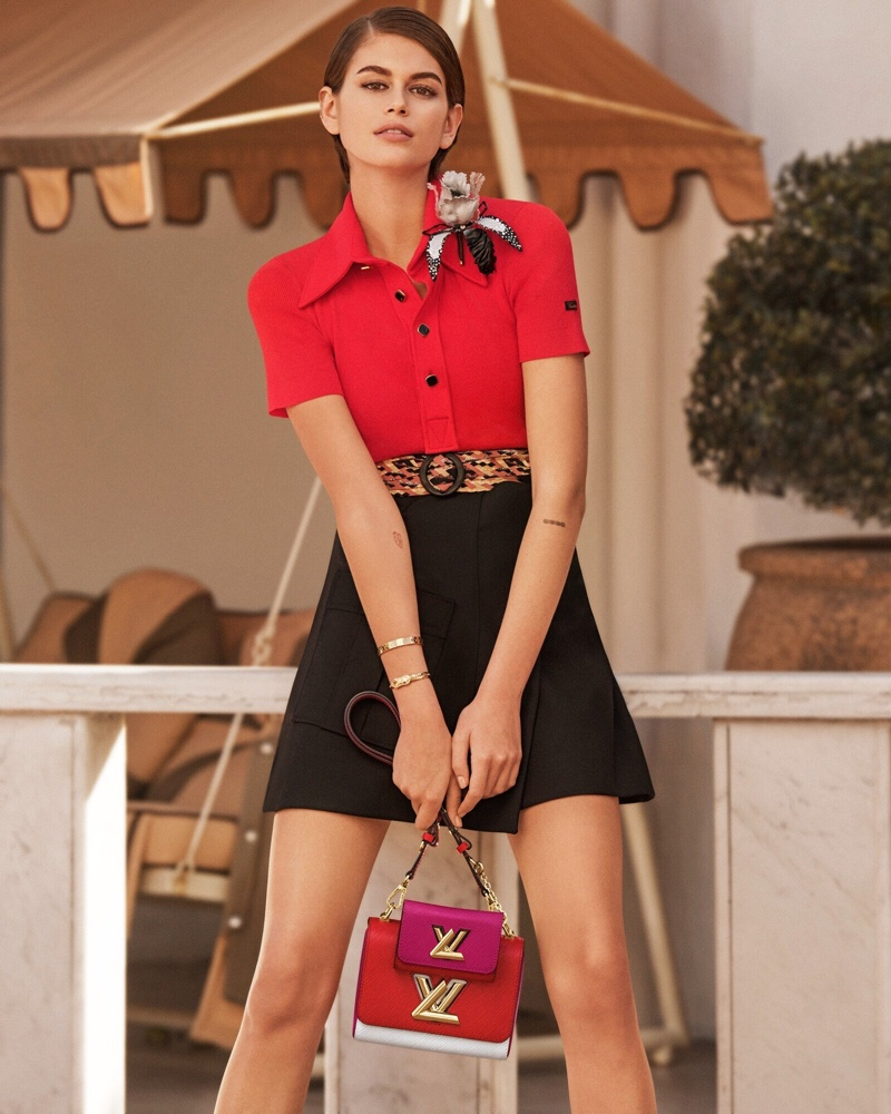 Standing out in red, Kaia Gerber fronts Louis Vuitton Twist spring 2020 campaign