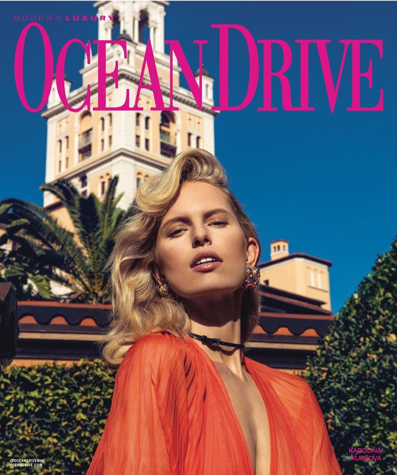 Karolina Kurkova Poses in His & Hers Fashion for Ocean Drive