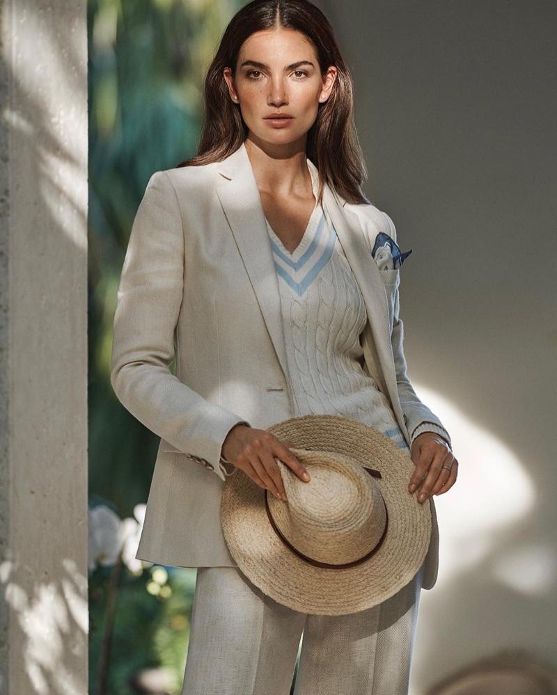 Suiting up, Lily Aldridge poses for Lauren Ralph Lauren spring-summer 2020 campaign.