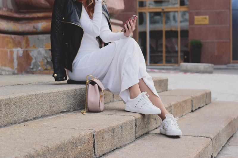 Leather Jacket White Dress Sneakers Pink Bag