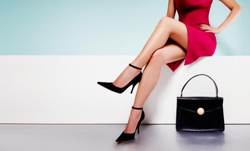 Legs Black Pumps Bag Red Dress