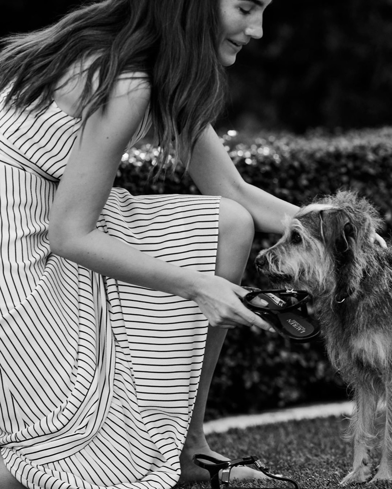 Lily Aldridge poses with a dog for Lauren Ralph Lauren spring-summer 2020 campaign