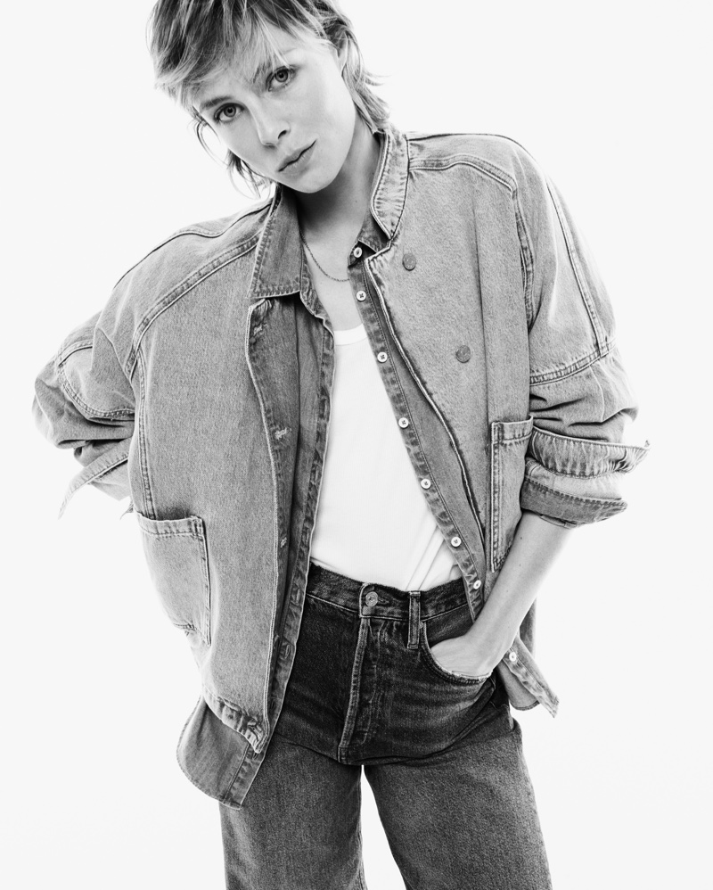 Model Edie Campbell is the face of Mango's sustainable denim campaign