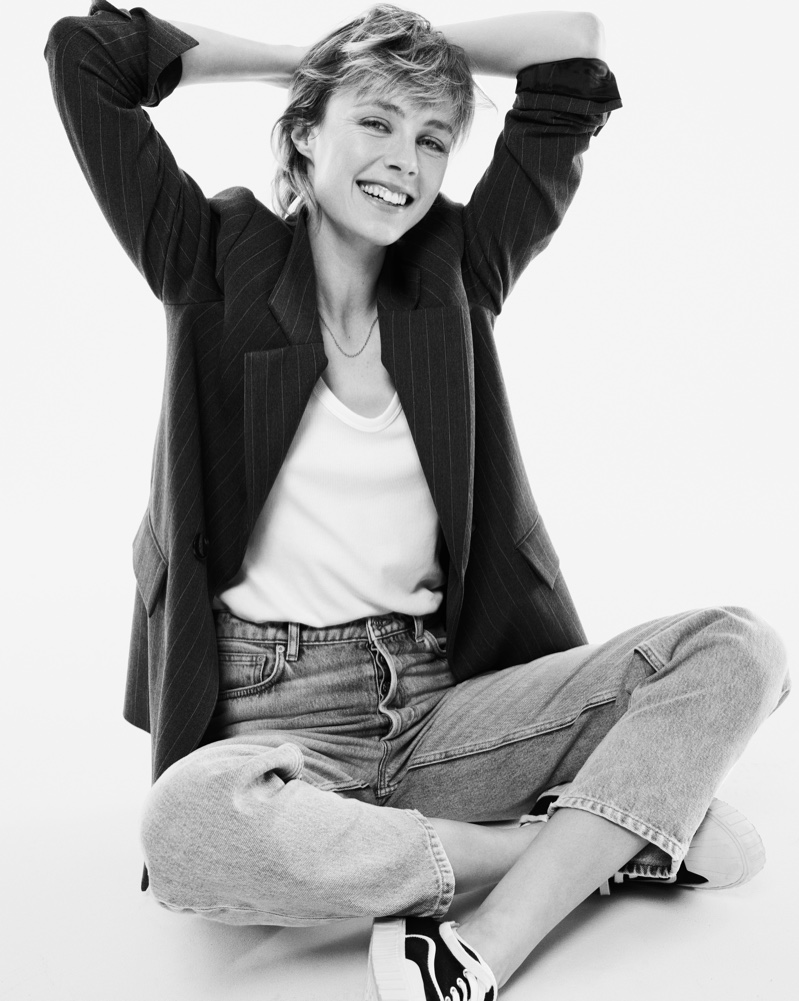 All smiles, Edie Campbell poses in Mango's sustainable denim line