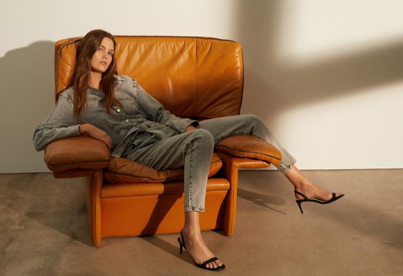 Luna Bijl tries on denim styles for Mango Sunset Conversation lookbook