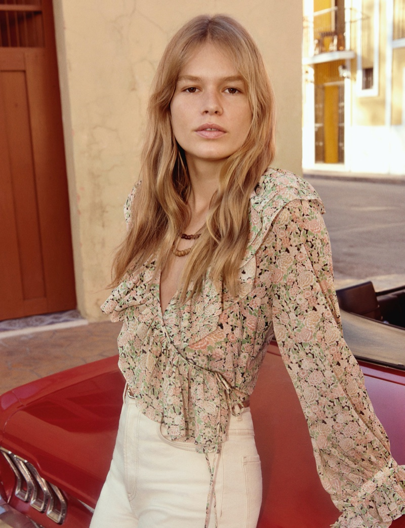 Anna Ewers poses for Mango spring-summer 2020 campaign