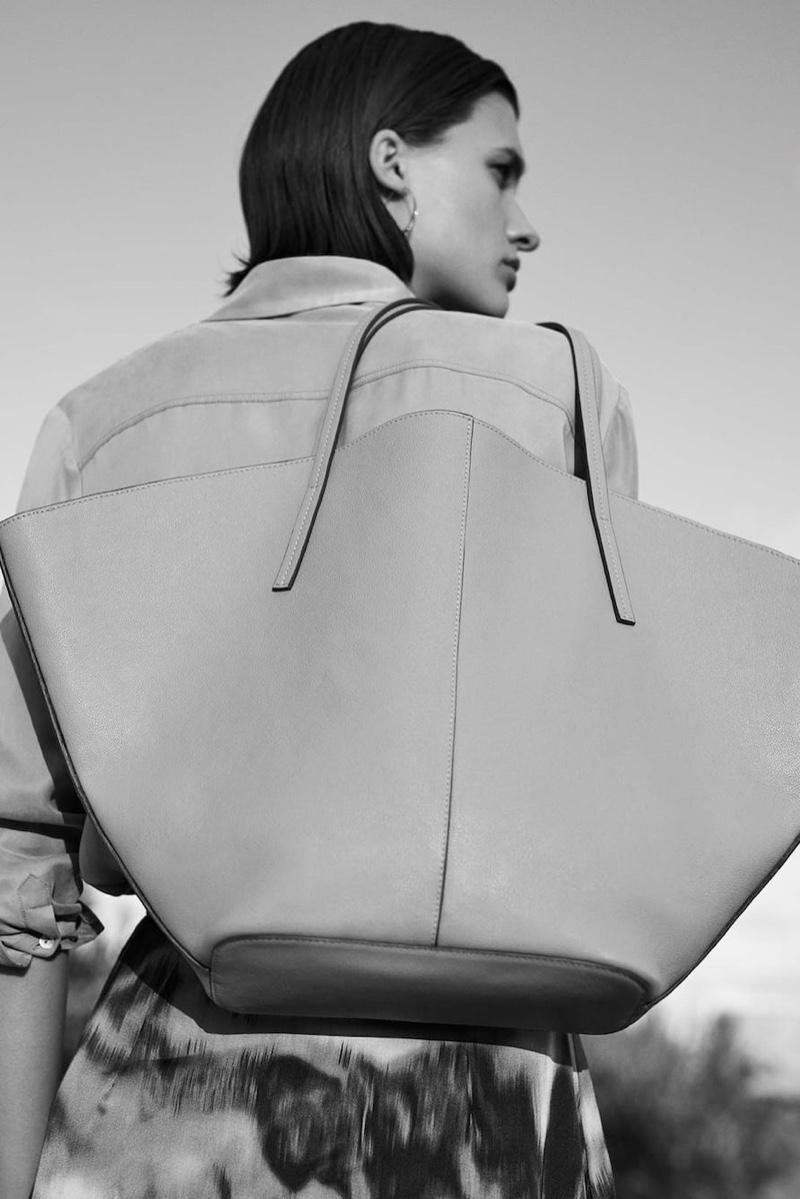 Massimo Dutti Plain Cupro Shirt, Cloud Print Skirt and Leather Tote Bag