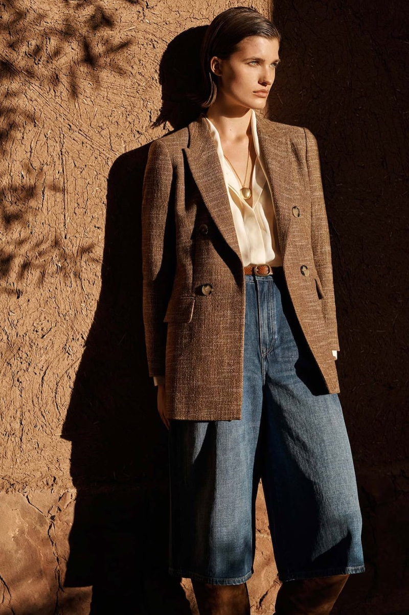 Julia Van Os poses in 1970's inspired fashions from Massimo Dutti