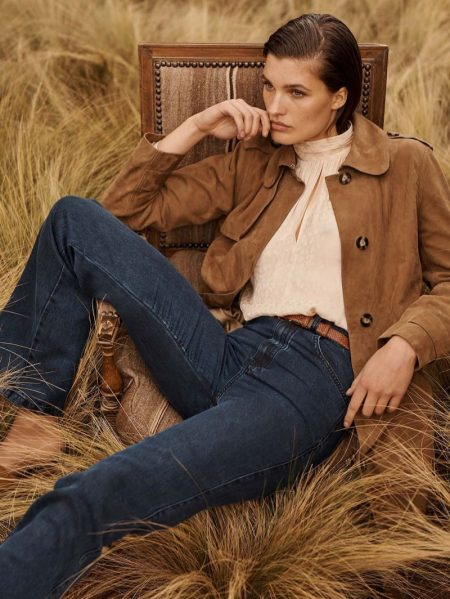 Massimo Dutti Suede Trench-Style Jacket, High Neck Jacquard Shirt and Lyocell Trousers