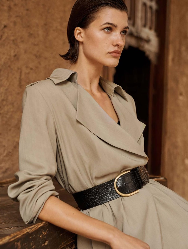 Massimo Dutti Belted Trench Coat and Mock Croc Leather Belt
