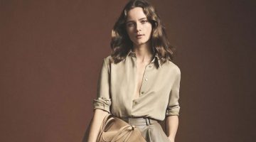 Anna de Rijk poses in Massimo Dutti spring 2020 collection