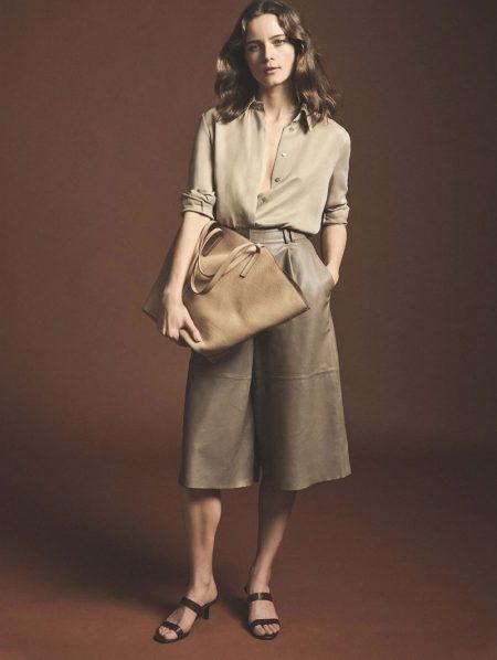 Anna de Rijk poses in Massimo Dutti spring 2020 collection