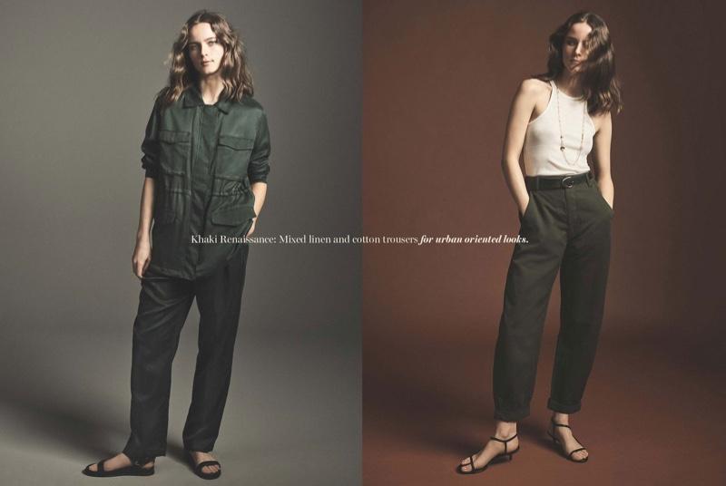 Model Anna de Rijk embraces khaki styles in Massimo Dutti Spring's New Mood trend guide