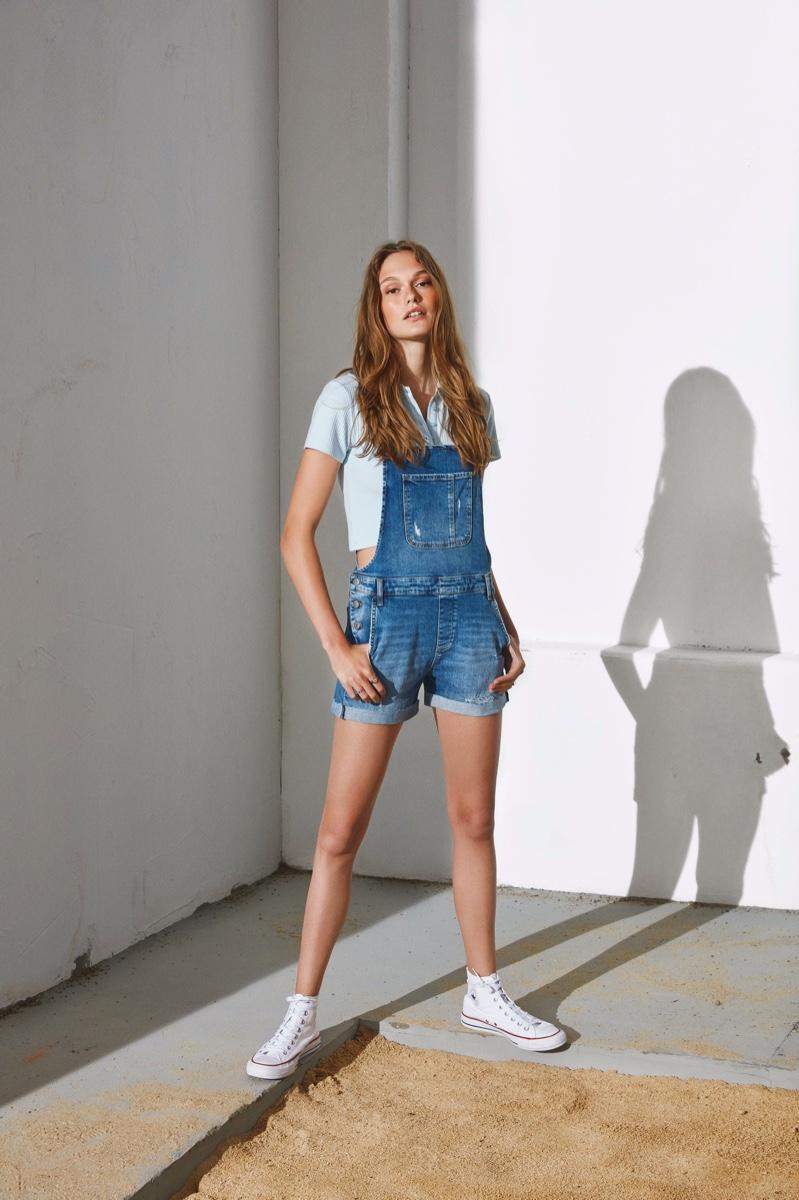 Dasha Maletina wears overalls in Mavi spring-summer 2020 campaign