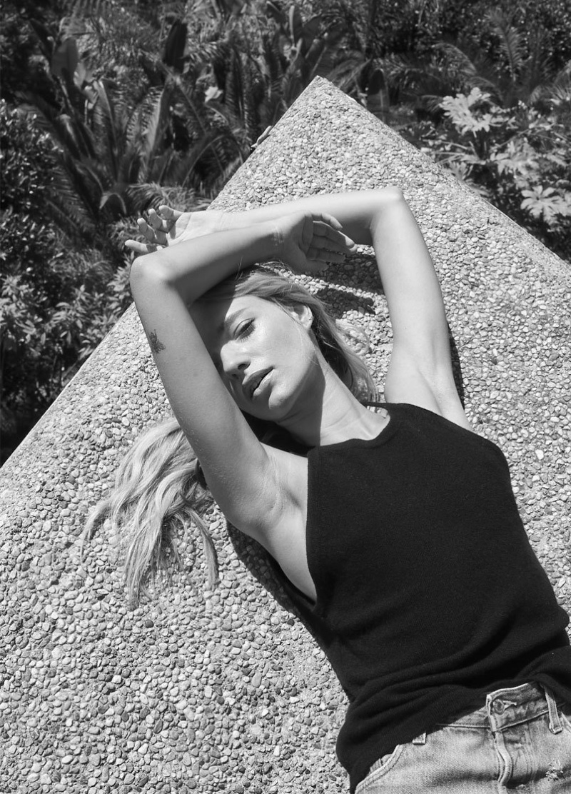 Maya Stepper poses for 360 Cashmere spring 2020 campaign