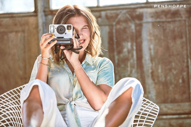 Millie Bobby Brown takes a photo for Penshoppe spring-summer 2020 campaign