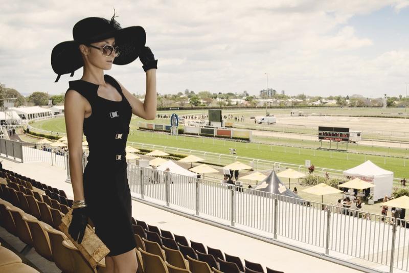 Model Black Derby Dress Hat Bag Gloves Fashion