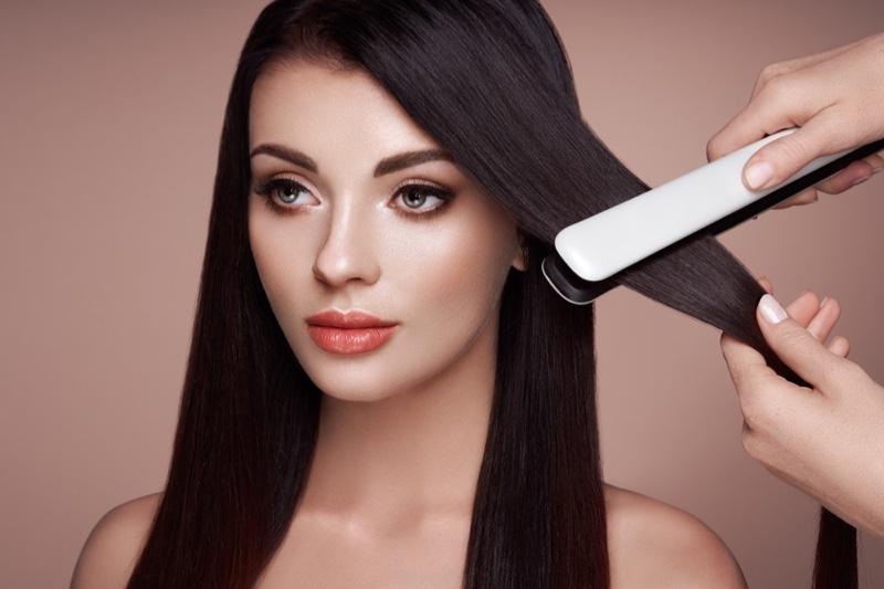 Model Dark Hair Glam Makeup Flat Iron Hairstylist