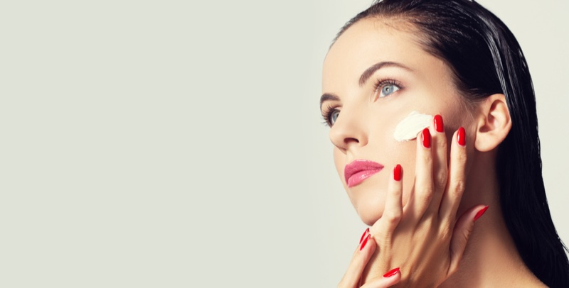 Model Face Cream Red Nails Pink Lipstick