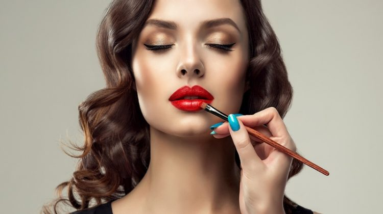 Model Getting Makeup Done Red Lipstick Beauty Blue Nails