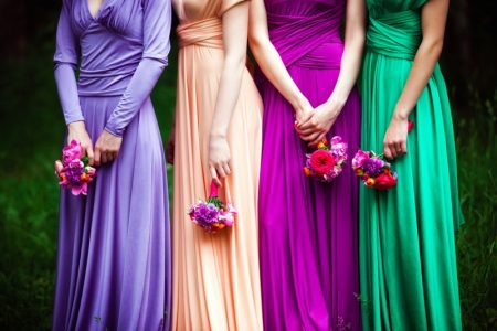 Multi Color Bridesmaid Dresses Flowers Bouquets