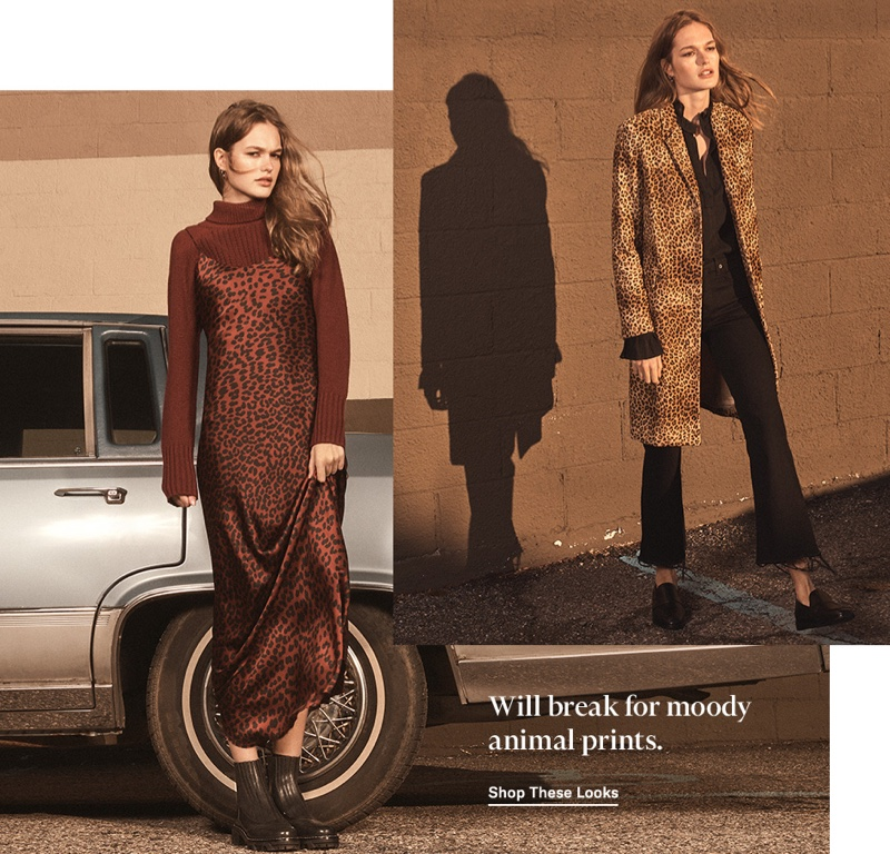 (Left) Nili Lotan Cami Gown $695, Houston Cashmere Sweater $895 and Rag & Bone Shawn Chelsea Booties $550 (Right) Nili Lotan Rosalin Coat $1,495, Demi Top $395, High Rise Vianca Jeans $345 and 3.1 Phillip Lim Alexa Loafers $425