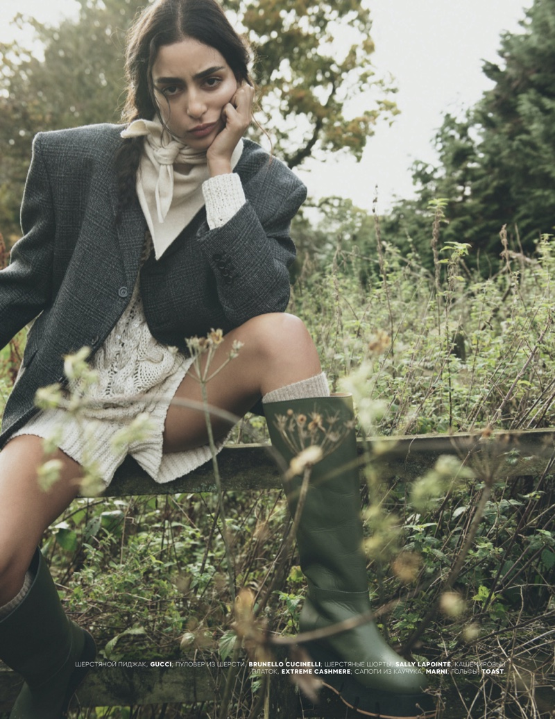 Nora Attal Poses in Outdoors Styles for Vogue Russia