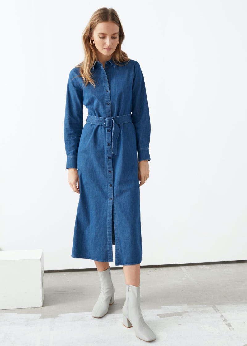 & Other Stories Belted Midi Dress in Blue $119