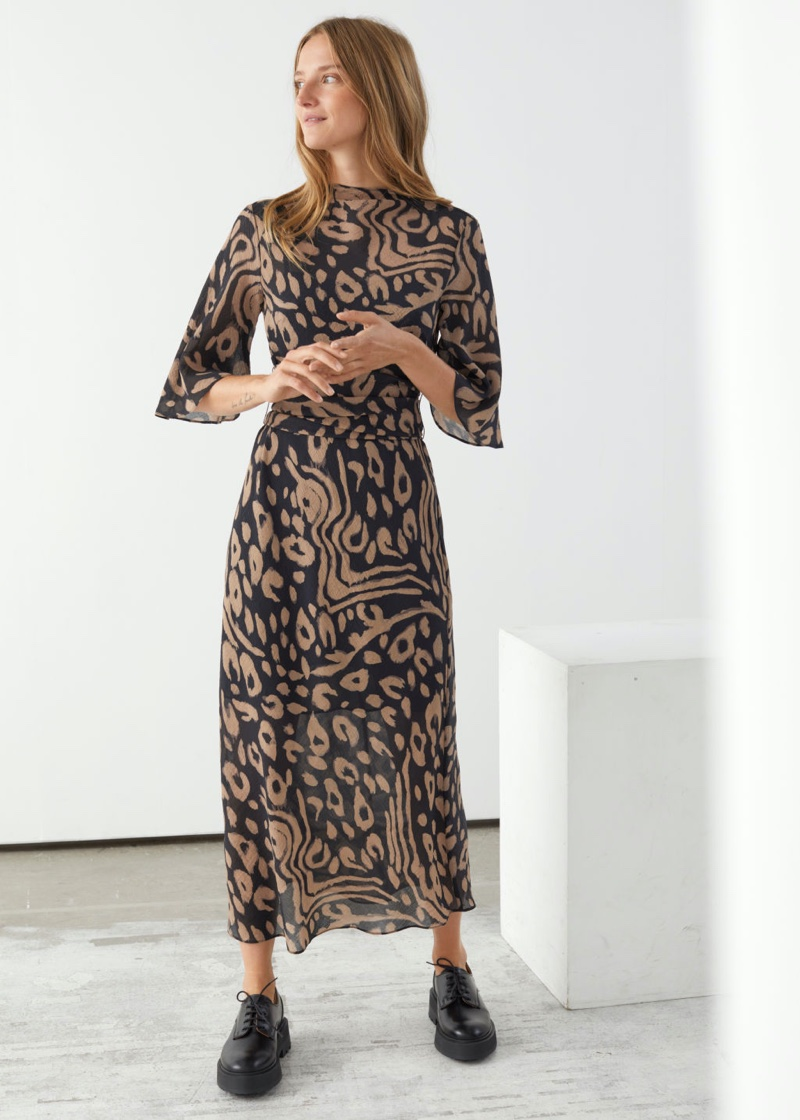 & Other Stories Belted Midi Print Dress in Black Print $129