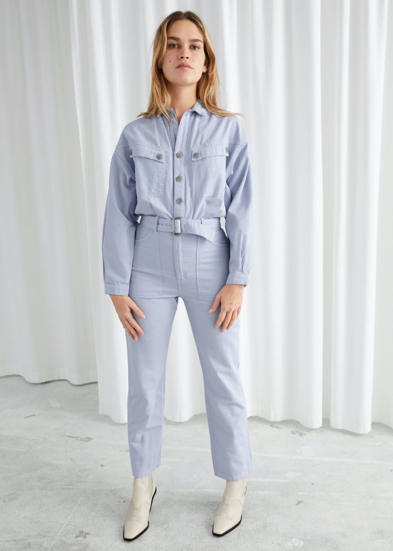 & Other Stories Belted Organic Cotton Utility Jumpsuit $129