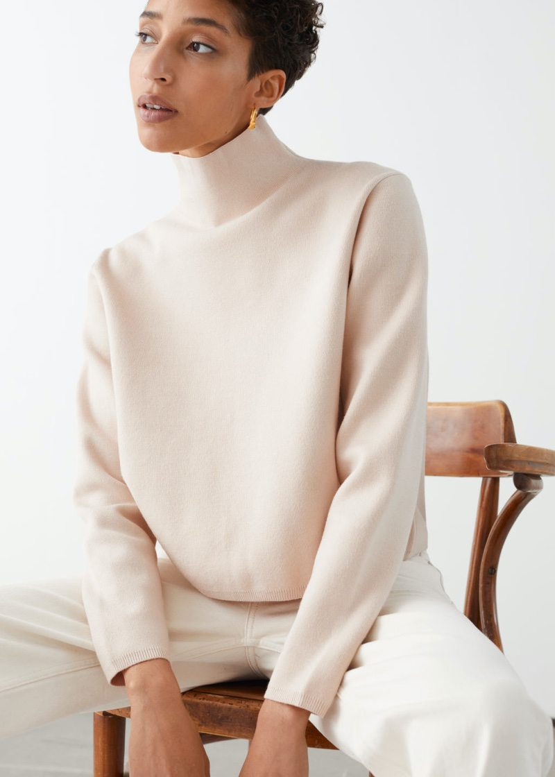 & Other Stories Cropped Relaxed Fit Turtleneck in Beige $89