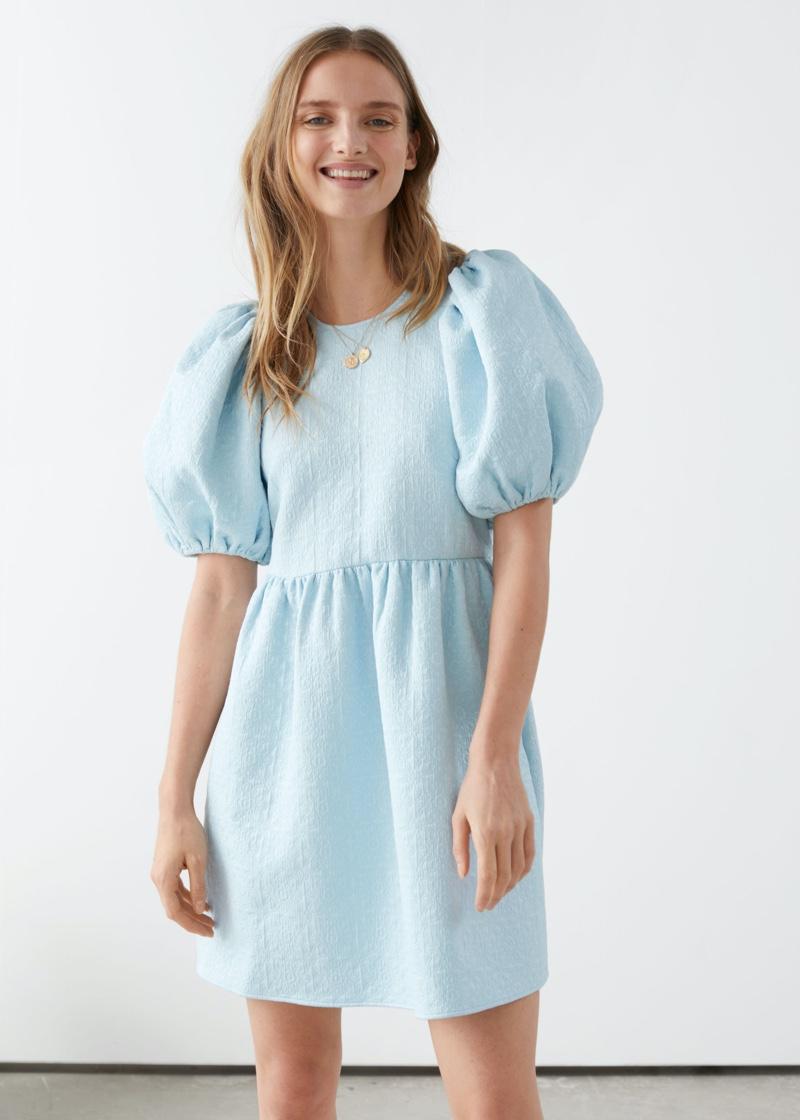 & Other Stories Jacquard Mini Gathered Dress $119