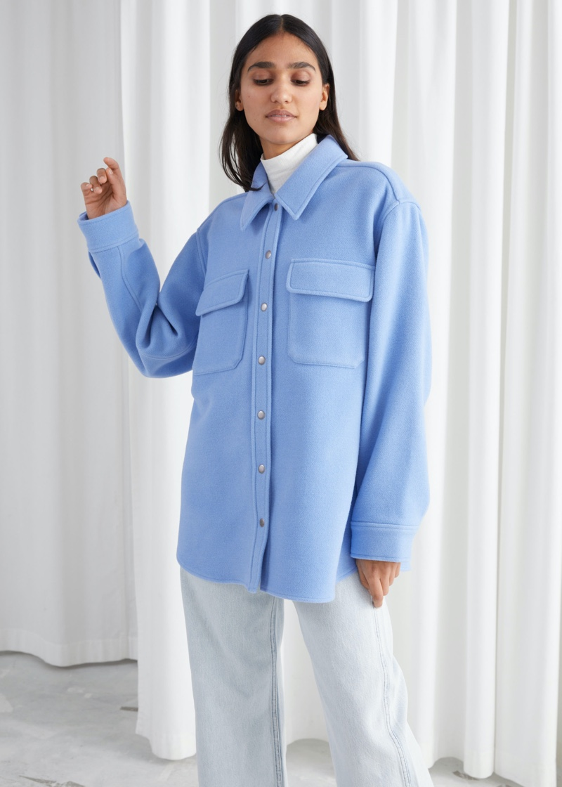 & Other Stories Oversized Wool Blend Workwear Shirt in Blue $149
