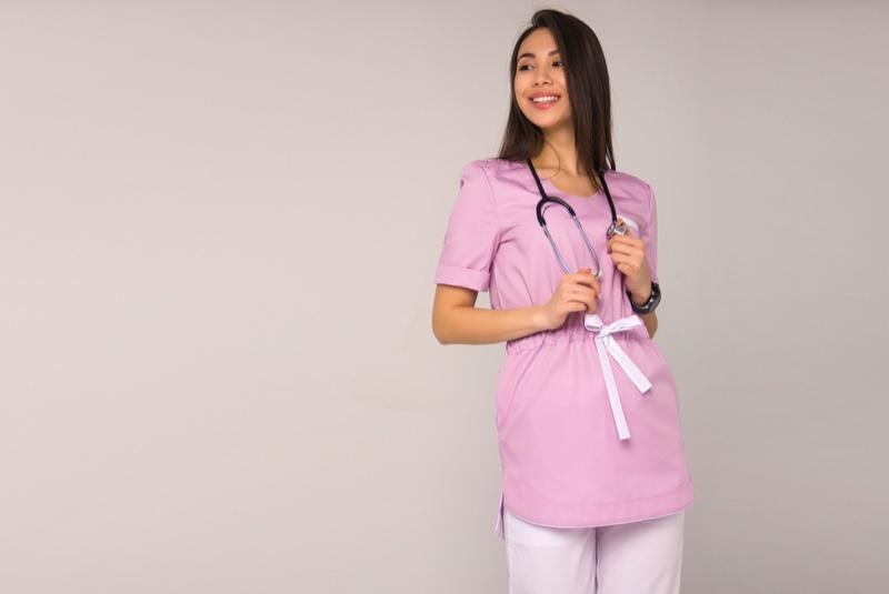 Pink Nurse Scrubs Bow Stethoscope Asian Model