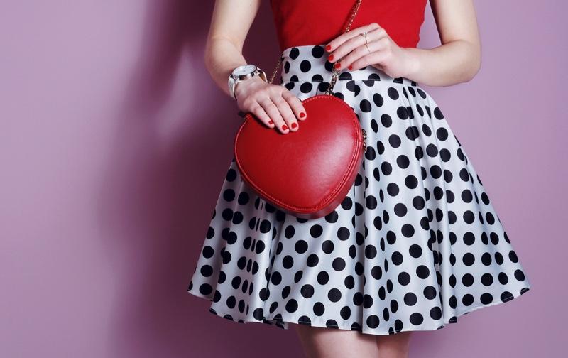 Polka Dot Skirt Red Heart Shaped Bag