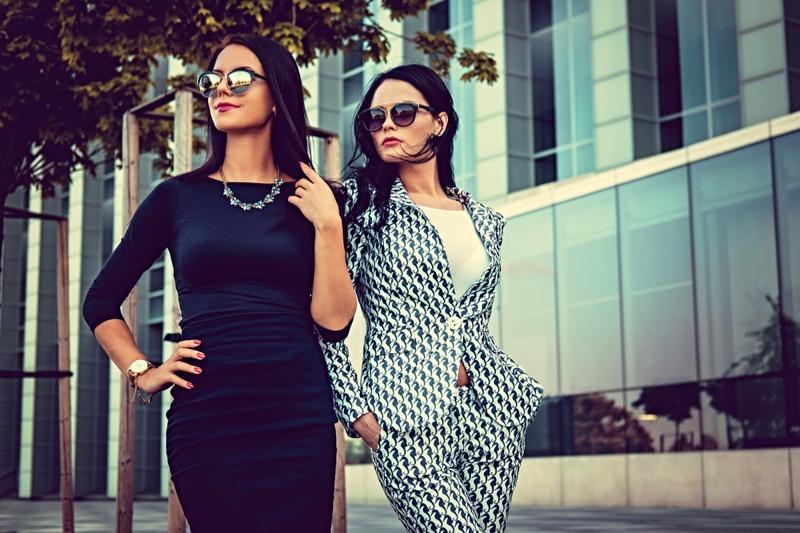 Professional Fashionable Looking Women Suit Black Dress Sunglasses