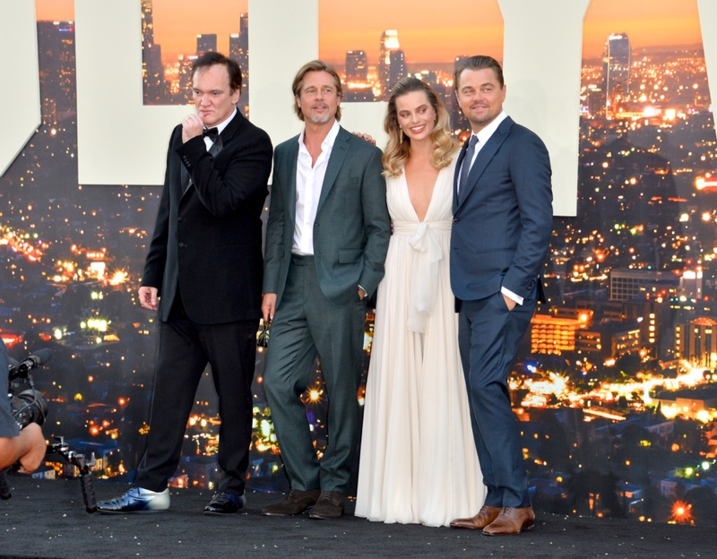 Quentin Tarantino, Bradd Pitt, Margot Robbie, Leonardo DiCaprio in Once Upon a Time in Hollywood premiere