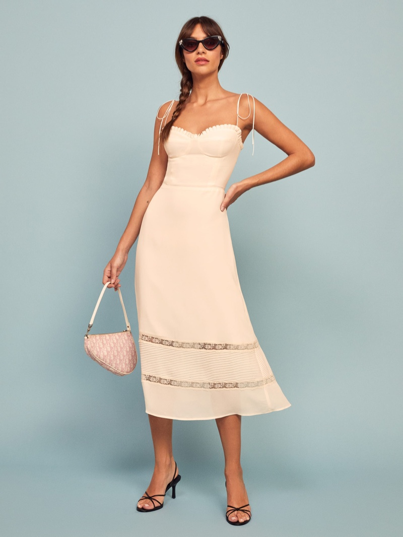 Reformation Ronan Dress in Ivory $278