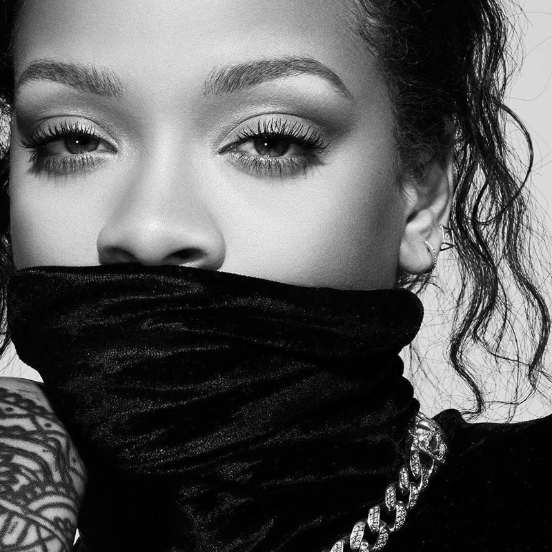 Wearing a turtleneck, Rihanna fronts Fenty Beauty Full Frontal Mascara campaign