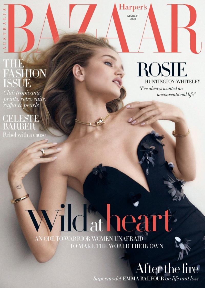 Rosie Huntington-Whiteley Models Body Con Looks in Harper's Bazaar Australia