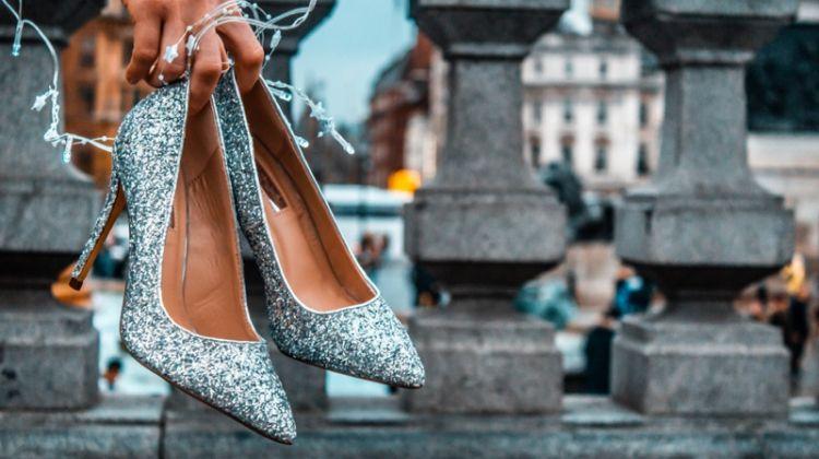 Silver Glitter Pumps Heels