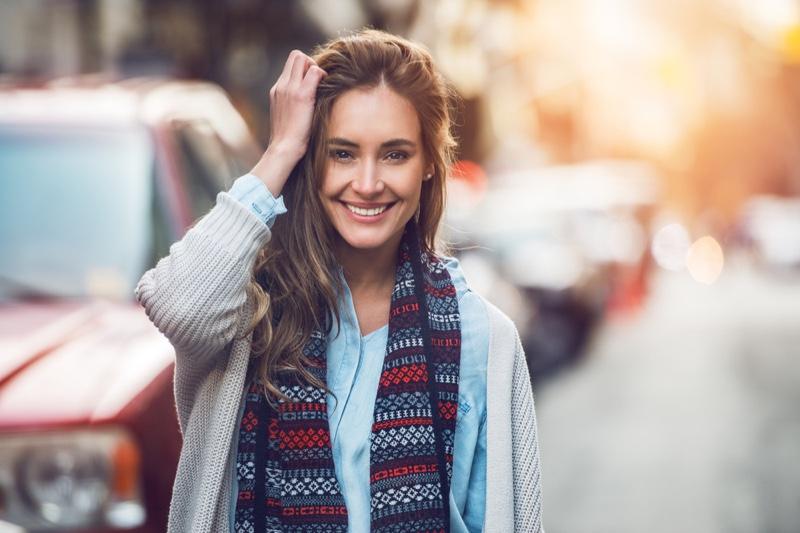 Smiling 30 Something Woman Scarf Sweater