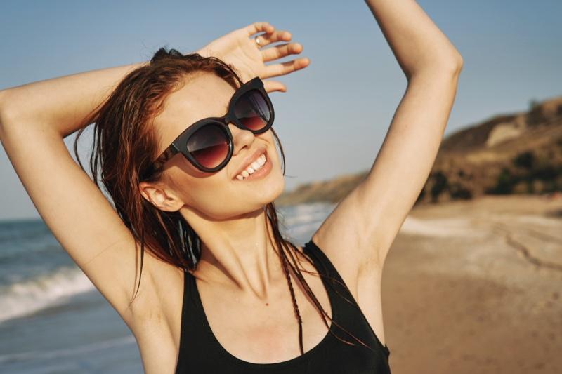 Smiling Woman Beach Cat-Eye Sunglasses