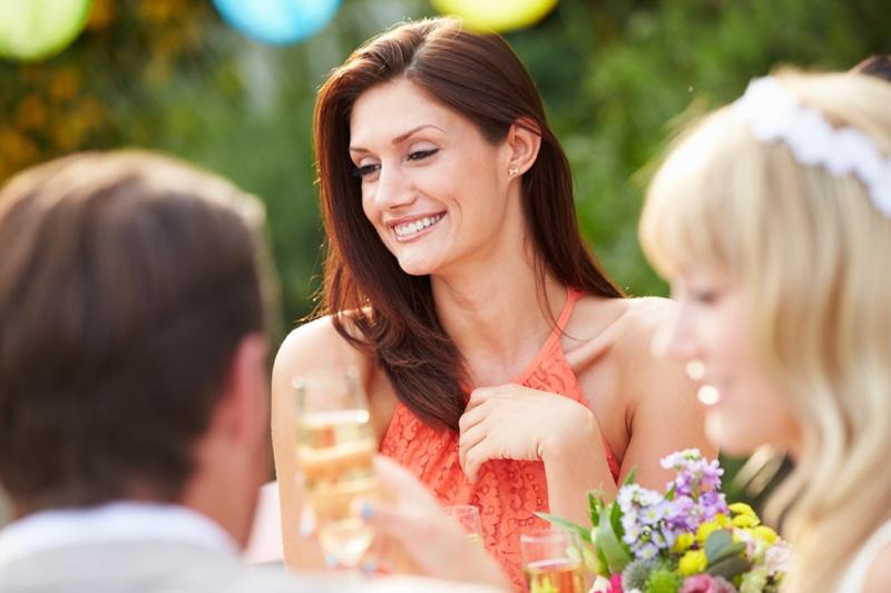 Smiling Woman Guest Wedding Orange Lace Top